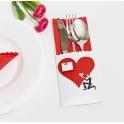 Etui na sztućce dekoracja stołu Ślub Serce