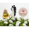 Dekoracje candy bar - tort, para młoda,gołąbki na wykałaczkach - 10 szt