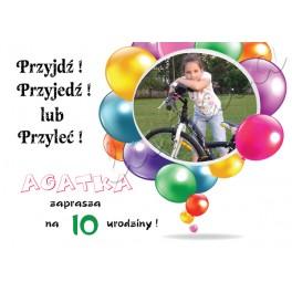 Zaproszenie Na Urodziny Dziecka Balony Ze Zdjęciem