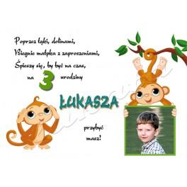 Zaproszenie Na Urodziny Dziecka Małpki Dwie Ze Zdjęciem